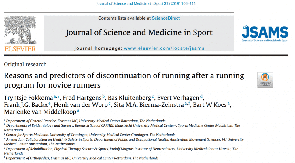 discontinuation of running after a running program