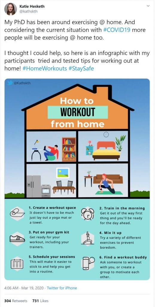 exercise at home with covid-19 threat infographic