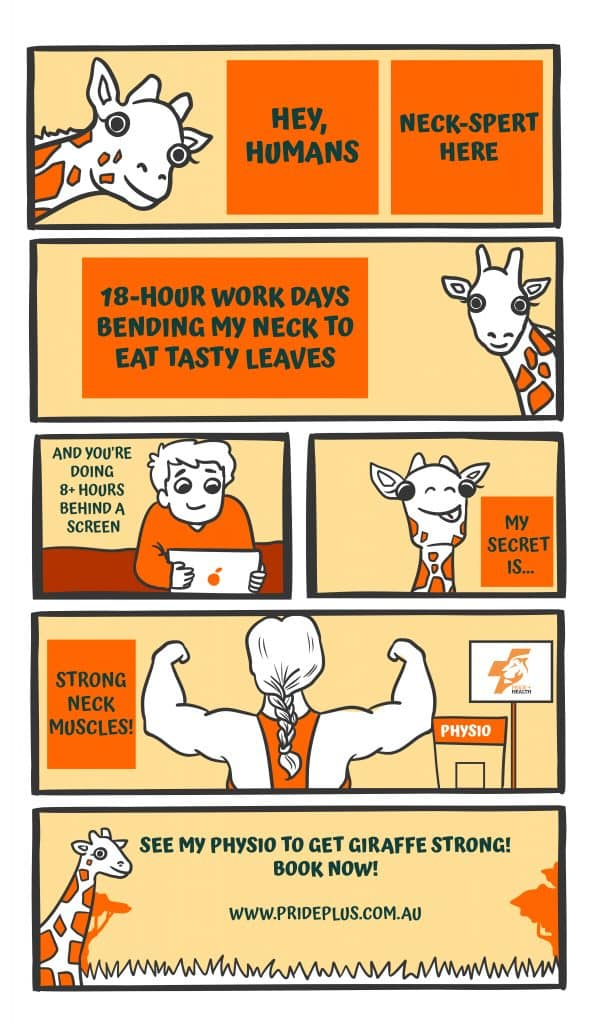 comic strip showing how a giraffe has a strong neck that does not get sore like a human neck