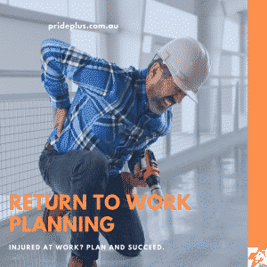 return to work planning an injured worker with a sore back bends down