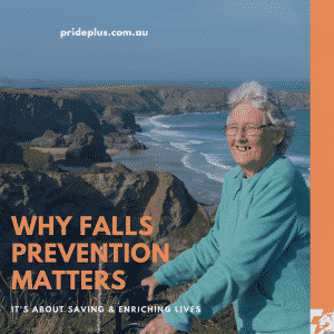 happy old lady walking because she completed a falls prevention program