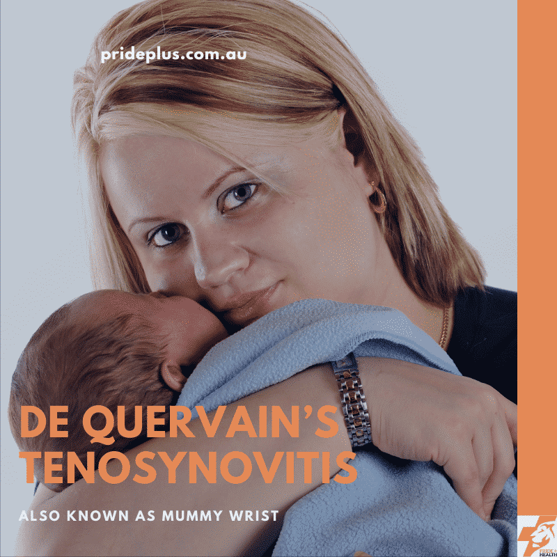 young mum with sore wrist from de quervain's tenosynovitis holding a baby while waiting for her physiotherapist to fix it