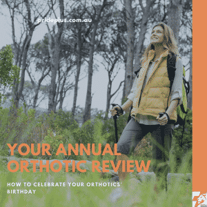 annual orthotic review as woman walking happily pain free in nature