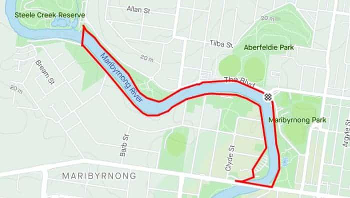 Maribyrnong River Loop best running tracks in melbourne