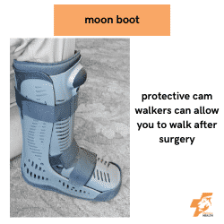 a moon boot or cam walker can aid your recovery after podiatry surgery
